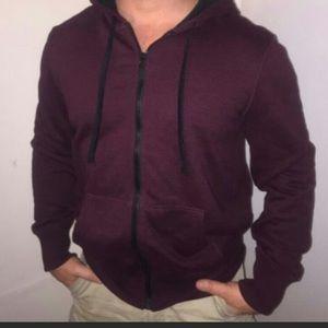 Op Zip Up Hooded Sweatshirt Maroon size M